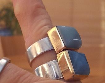Green Ring, 9k Gold Square Bezel, Silver Band, Green Amazonite  Stone