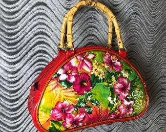 Hawaiian Glitter Tiki Handbag • Sparkle Vinyl Bag • Metal Flake Purse • Hawaii Floral • Mini Bowler • Made in USA • Double K