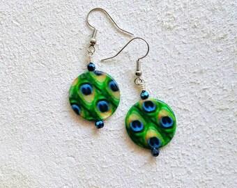 "Peacock patterned Shell on Surgical Steel Earrings, Swarvoski Crystal, 1-3/4"" long, Nickle-Free, Fun Fashion Boho,Green Blue Navy Rainbow"