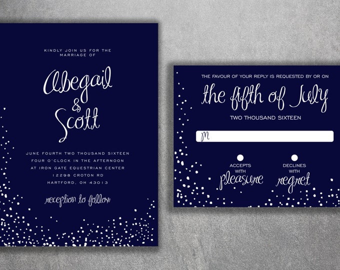 Snow Wedding Invitation, Winter Wedding Invitation, Christmas Themed Invites, Navy and White, Snow Flakes, December, Snowflake Invitation