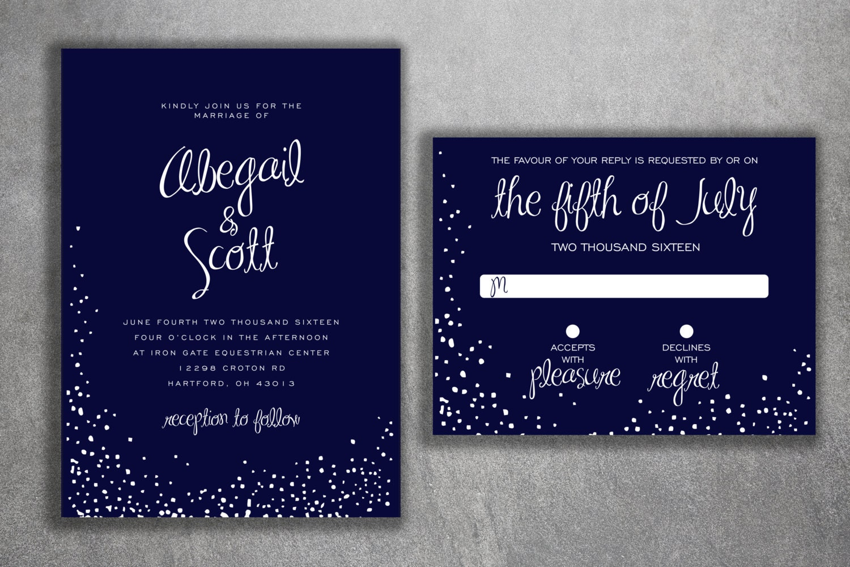 Snow Wedding Invitation, Winter Wedding Invitation, Christmas Themed ...