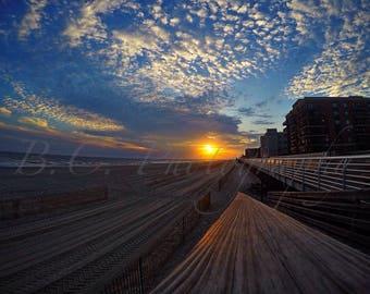 Long Beach Boardwalk photo, New York, Ocean, Sunset
