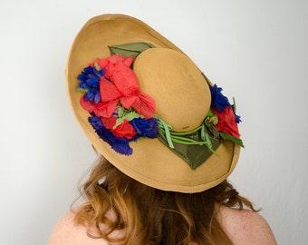 1940s vintage hat / huge wide brim straw hat / Rona