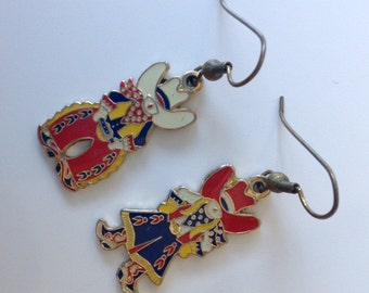 Vintage Western Enamel Earrings of Cowboy and Cowgirl Couple