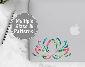 Lotus Flower Laptop Decal Stickers, Pattern Decal Lotus Sticker, Yoga Sticker Yoga Decal, Flower Vinyl Decal, Lotus Decal Patterned Decal