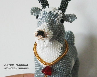 "Pattern / Tutorial Beaded Ornament - Master class for creating ""Gray goat"""