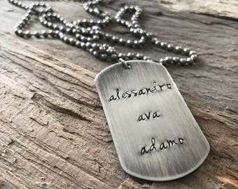 Men's Custom Stainless Steel Dog Tag Necklace, Dad Necklace, Personalized Gift, Dog Tag Jewelry, Rustic Necklace, Father's Day