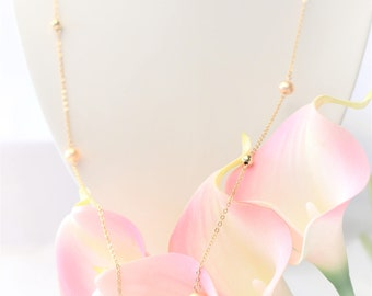 Long Pearl Necklace/ Gold Pearl Necklace/Silver pearl Necklace/Bridal/Bridesmaid
