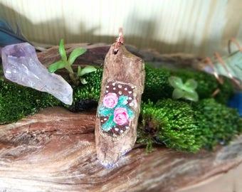 Boho Hand Painted Roses Driftwood Pendant