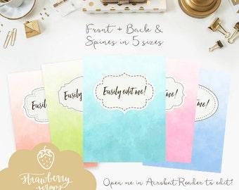 Ombre binder covers, 5x set Covers + Spines, Binder inserts, College binder printable, Teacher binder, School binder, Colorful binder