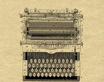 Vintage 1896 Typewriter Patent Print,Typewriter Art,Typewriter Gifts,Typewriter Digital Download,Typewriter Wall Art,Typewriter Office Decor