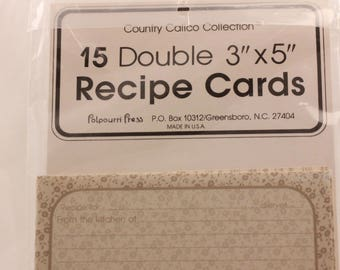 "NEW!!!! Vintage 4 Packages of 15 Double 3""X5"" Recipe Cards by Potpourri Press. Sealed"