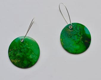 green watercolor earrings