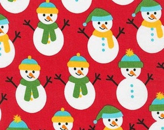 Snowmen on Red from Robert Kaufman's Jingle 4 Collection by Ann Kelle