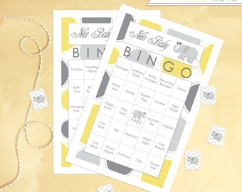 Baby Shower Bingo Elephant 30 cards INSTANT DOWNLOAD Yellow and grey - Printable