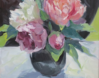 peony impressionist oil painting, floral, pink, orange, white peonies, still life, impressionism, 12x12 inches. alla prima, oil painting