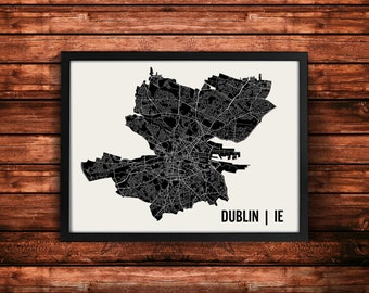 Dublin Map Artwork | Map of Dublin | Dublin Ireland Map | Dublin City Map | Dublin Poster | Dublin Wall Art Print