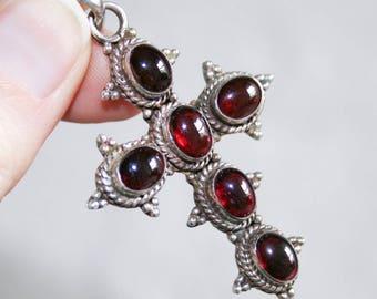 Sterling Silver Polished Garnet Cross Crucifix Pendant
