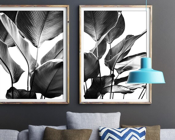 Black and white prints banana leaves print set of 2 wall