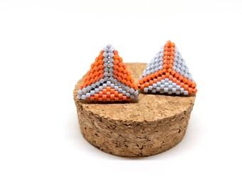 Ready to Ship Triangle Earrings, Minimalist Earrings, Color block earrings, autumn jewelry, fall jewelry, asymmetrical, hypoallergenic