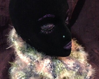 Cowl-ico Deux, a lusciously soft and warm loose cowl, handknit in machine washable and vegan bulky acrylic/polyamide