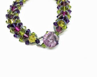 wine country . swarovski crystal bracelet . jewel tones . purple . napa . olive green . gift for her . unique . friend gift . wine .