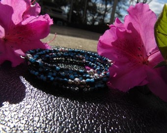 Blue, Black, & Steel Wrap-around Bracelet