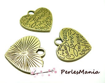 10 pendants message heart Bronze 2Y2313 charms for jewelry making