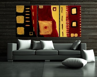"Original Modern Abstract Art Painting ""Red Black Gold"""