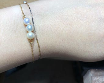 Bracelet # gold 18 k #perle water soft and Akoya pearl