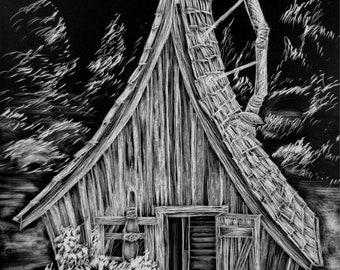 The Pointed Roof, fairy house, whimsical house, scratchboard - artist print