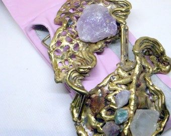 Brualist Copa Collection Brass Belt Buckle With Pink Leather Belt - Copa Carvalhu - Brazil - 1970's - Raw Emerald And Amethyst
