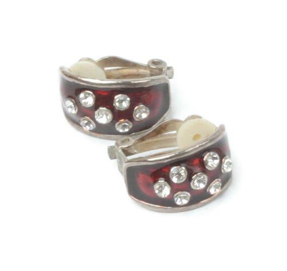 Red Enamel Half Hoop Earrings Clear Rhinestones Clip On Vintage