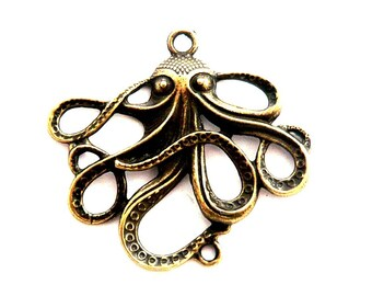 1 bronze steampunk Octopus size large 50mm connector
