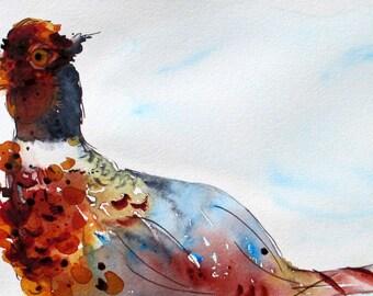 Pheasant Watercolor Print, Wild Bird Art Print