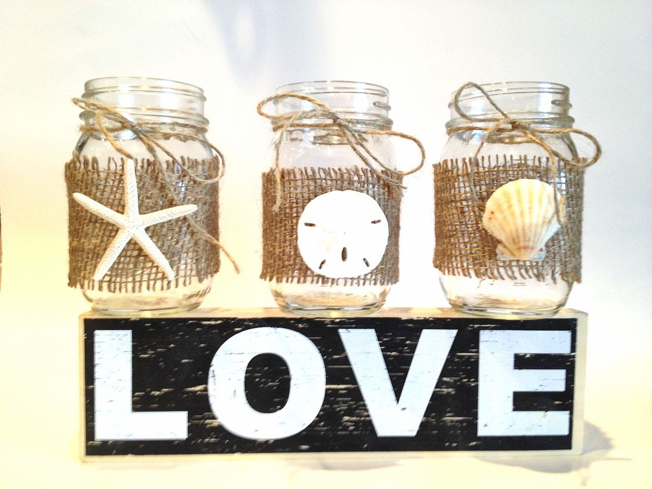 Set of 6 Mason jar centerpiece-candle holder beach wedding