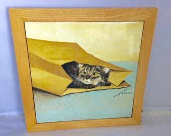 "Cat Decorative Tile, Feline Art, framed ceramic tile, 9 1/2""x9 1/2"" frame, 8"" tile, decorative tile, Signed Herrero, Vandor item. 1982"