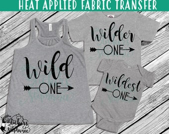IRON ON v50-L  Wild Wilder Wildest One Arrows Heat Applied T-Shirt Fabric Transfer *Specify Color Choice in Notes or BLACK Vinyl