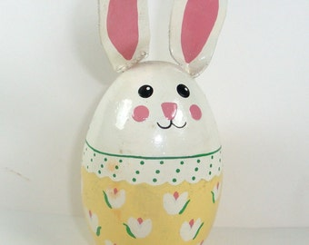 Vintage Decorative Wood Bunny Egg, Painted, Big Pink Ears, Easter Egg, Holiday Decor  (1238-08)