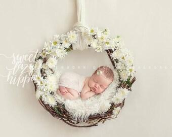 Newborn digital backdrop. Milky color. White wreath of fresh flowers. Instant download digital background. Hires jpg file