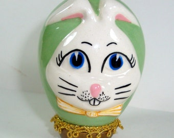 Vintage Ceramic Egg, Bunny Face, Green, Decorative Easter Egg, Kitschy  (1871)