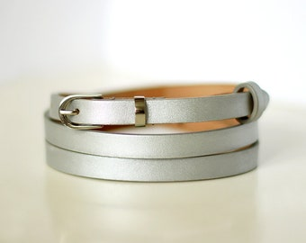 Free shipping! Leather belt, silver belt, waist belt, narrow belt, thin belt, skinny belt, silver womans belt, gift for her, metallic belt