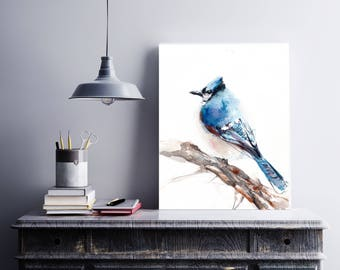 Blue Jay Bird Art Print, Bird Watercolor Painting Print, Bird Giclee Print, Bird Wall Art