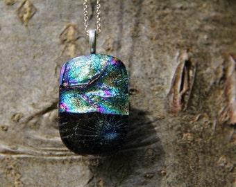 Large Multi-coloured split dichroic pendant ,  dichroic glass necklace, multi-coloured fused glass necklace, fused glass pendant, dichroic,