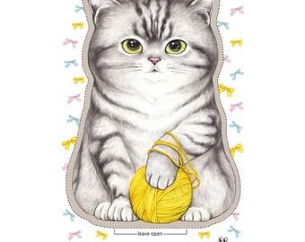 DIY Fabric - Knitting Cat (BIG SIZE!)