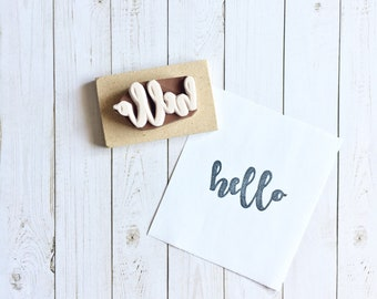 Hello Stamp - Calligraphy Stamp - Snail Mail Stamp - Mail - Packaging Stamp - Greeting Stamp - Hand carved Stamp - Rubber stamp