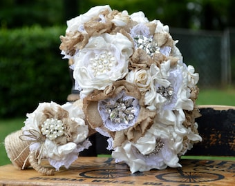 Small Shabby Chic Bouquet with Matching Boutonniere - Made To Order