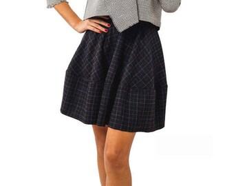 Plaid mini skirt women tartan skirt for women Plaid skirt mini high waisted skirt, Pleated short skirt tartan, Blue high waist flare skirt
