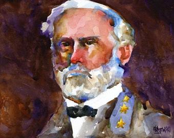 Robert E. Lee Original Watercolor Painting 11x14