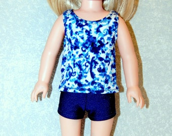 Blue Tank Top and shorts set handmade for 14.5 inch Wellie Wishers tkct1222 READY TO SHIP